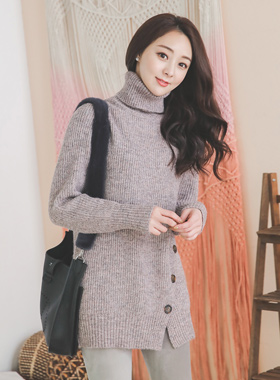 Mix Bokashi Side Button Turtle Long knit