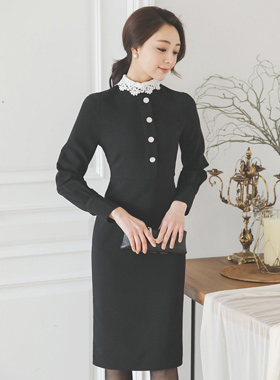Coco Embroidered Lace Collar Button Dress