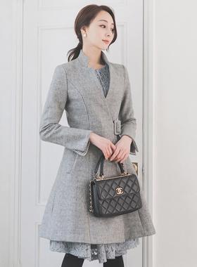 Slit Standing Neck Buckle Flared Wool CoatⅡ