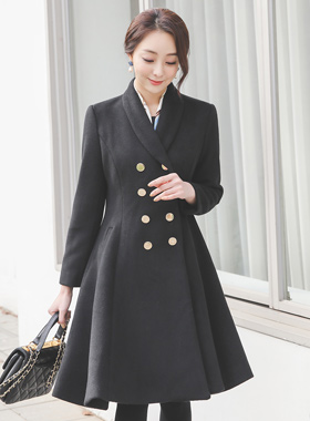 Shawl Gold Double-button Flared Wool Coat