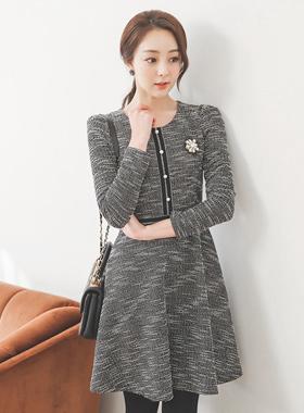 Aurora Round Tweed Flared Dress
