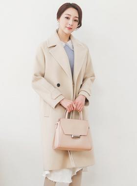 Double-button Buckle Side Pocket Wool Coat