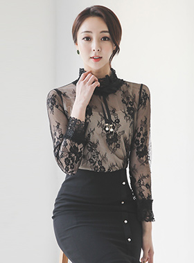 See-through Flower Lace High-Neck Blouse