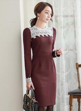 Anna Lace Color Combination Span Dress