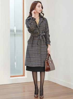 건클럽체크 overfit Wool Trench Coat