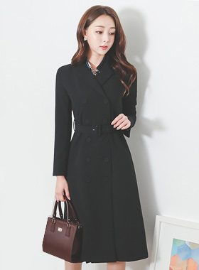인터록 Belted Double Long Coat(Beige Only)