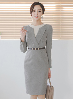 Double Hound's-Tooth Check Belt Dress