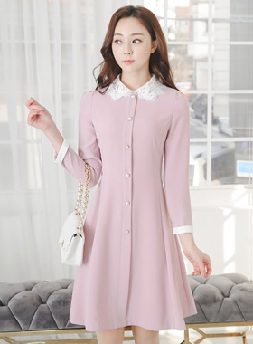Lace Callor Color Combination Pearl Buttons Flared Dress