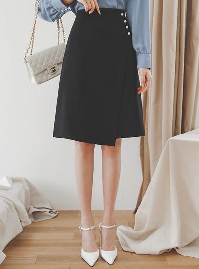 Imitation Pearl Side-Wrap A-line Skirt