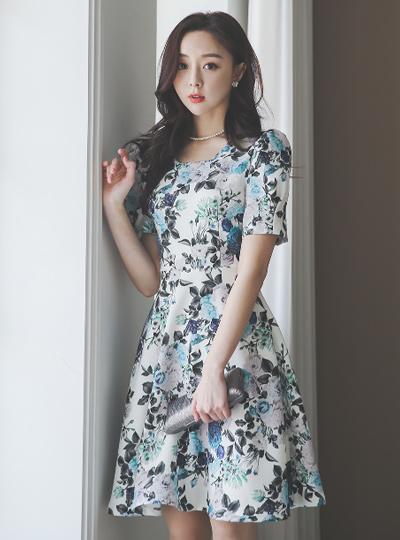 Blue-Rose Patterns Square Neck Flared Dress