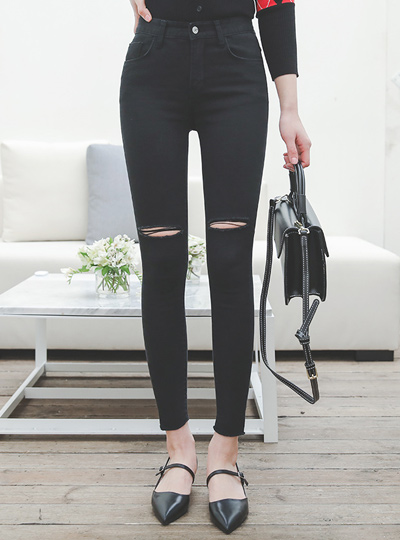 Two-Cutting Chic Black Jeans