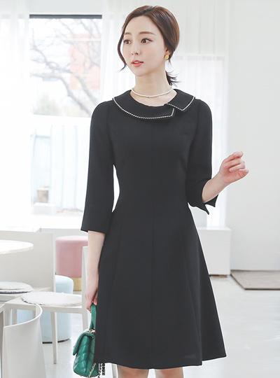 Stitch Embroidery Flat Collar Flared Dress