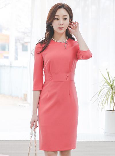 Spring Vivid Obi-Button Span Dress