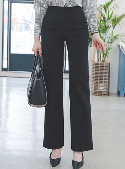 High Pintuck Straight Wide Slacks