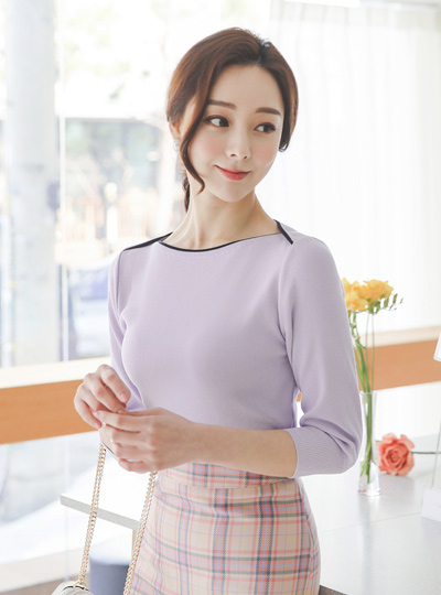 Spring Boat Neck Color Combination Cutting Knit T-shirt