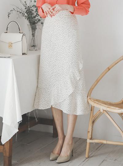 Unbalance Ruffle Dot Skirt