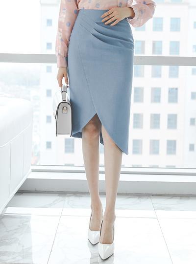 Unbalance Tulip Pintuck-Shirring H-line Skirt