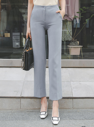 Slim Fit Side Slit Span Slacks Pants