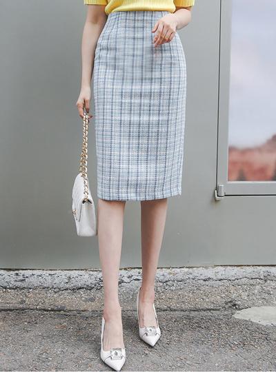 Coco Back Slit H-line Tweed Skirt
