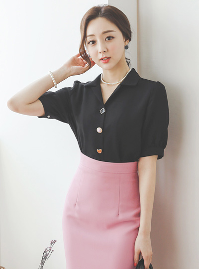 Various Jewelry  Button V-neck Blouse