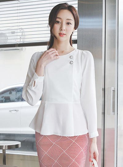 Silver Pearl Two button Peplum Blouse