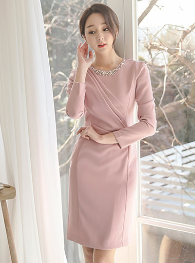 LaBelle Pearl Beads Shirring Dress