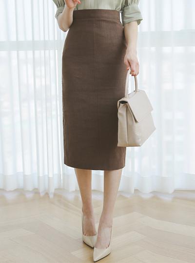 Obi Basic High-Waist Linen Long Skirt