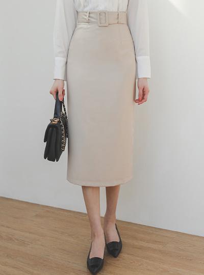 Spring Belted H-line Basic Long Skirt