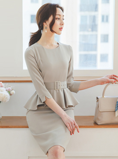 Formal Square Belted Peplum Dress