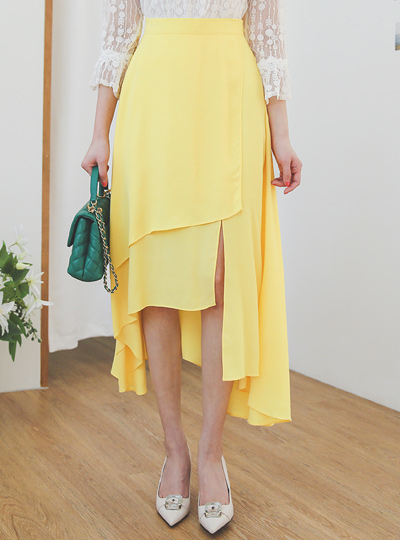Spring Double-Unbalanced Slit Flared Skirt