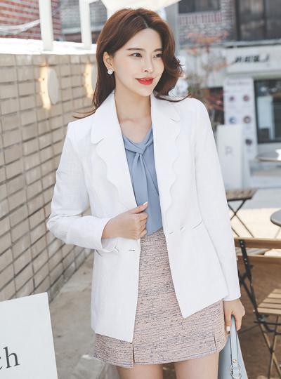 Wave Collar Slim Linen Jacket