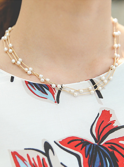 Mini three lines Pearl Gold Necklace