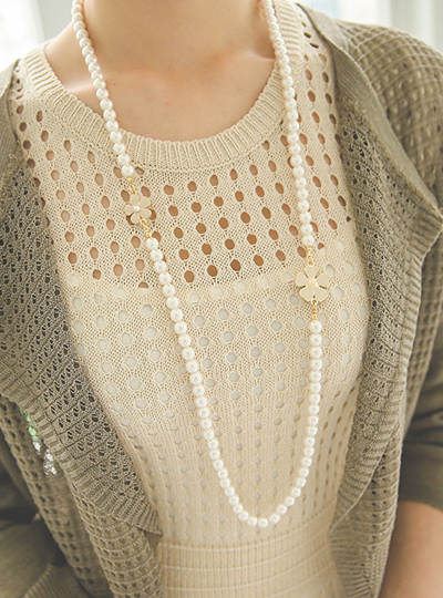 two-way Flower Long Pearl Necklace