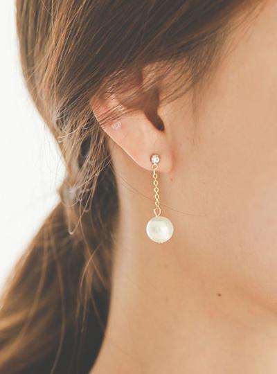 Cubic&Pearl Drop Earring