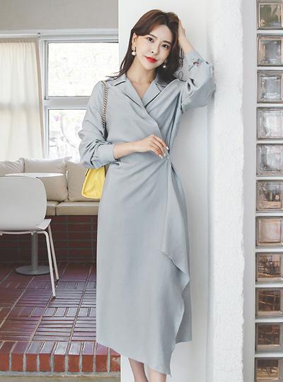 Unbalance Drape Wrinkle Shirt-Wrap Dress