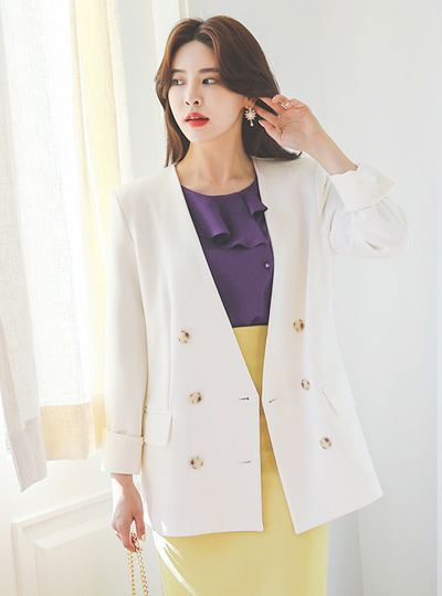 Modern Chic Double-button Boxy No-collar Jacket