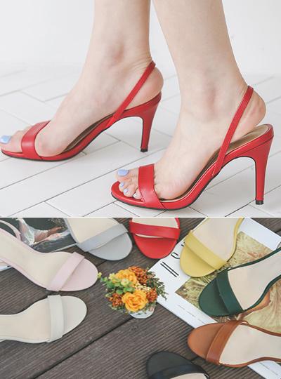 Summer Strap Color Sandal Heel