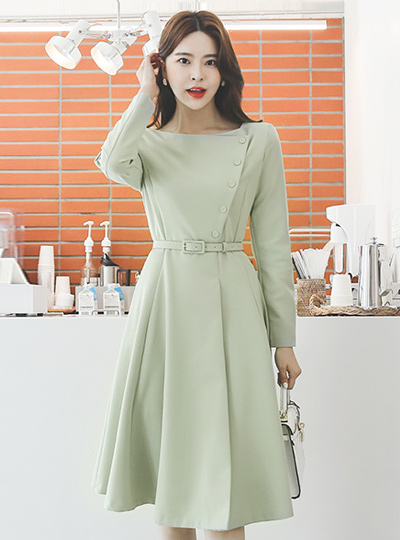 Lady Boat Neck Side Button Flared Dress