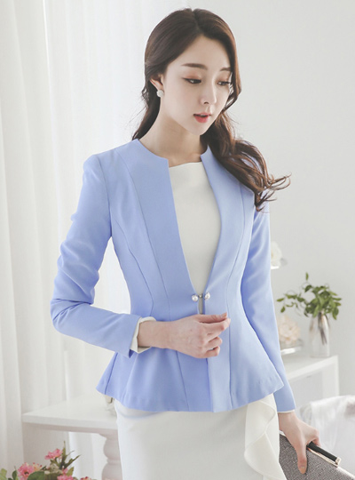 simple No collar double pearl Jacket