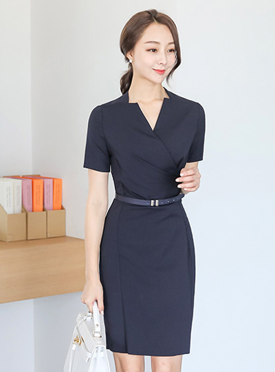 Formal Wrapping Belted Dress (Short Sleeve)
