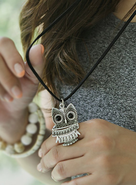 Antique Owl Long Necklace