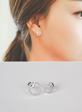Round cubic Twin earring