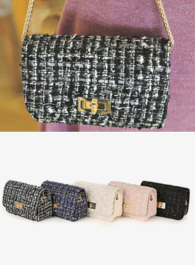Tweed quilting Mini chain bags