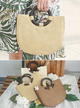 Wooden Ring Handle Raffia Tote Bag