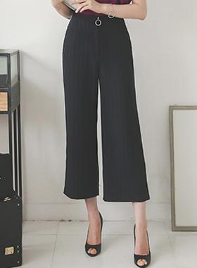Stripe Ring Zipper Wide Pants