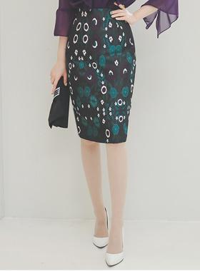oriental Flower Jacquard Skirt