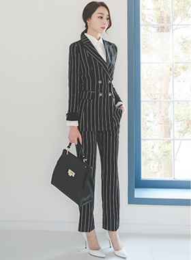 Modern Sikk Gold Button Stripe Slacks
