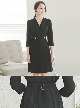 Modern Metal Button Back Pleated Wrap Dress