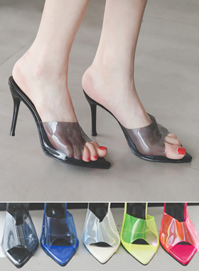 Plexiglass transparent mules slipper heel