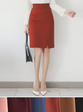 Pin tuck side slit Hline Skirt